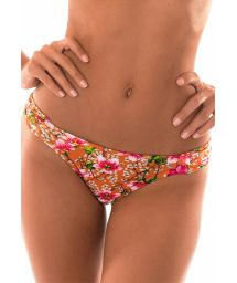Orange floral swimming tanga with pleated sides - CALCINHA RAMALHETE LARANJA