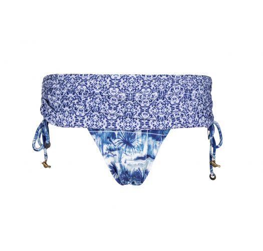 Brasiliansk underdel i skjørt-stil, vendbar blå - CALCINHA SABIA DUPLA