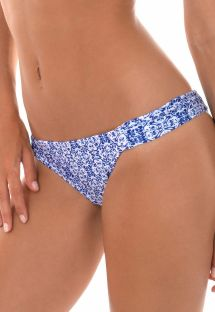 Printed blue bathing tanga with gathered sides - CALCINHA SABIA GRINGA