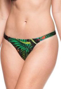 Black floral fixed string bikini bottom - CALCINHA SENA
