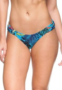 Blue Brazilian bottom with plant theme print pleated sides - CALCINHA TASMANIA