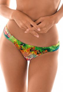 Tropical swimsuit tanga with ruched sides - CALCINHA TERRA DRAPEADO