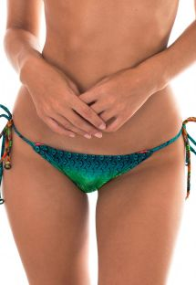 Cueca brasileira de atar c/ padrão multicolorido - CALCINHA TERRA TROPICAL