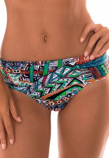 Blue ethnic print swimming costume wide sides - CALCINHA TRIBAL CRUZADO