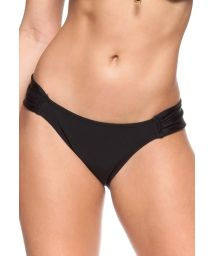 Black swimsuit tanga with pleated sides - CALCINHA VALSA