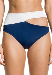 Marineblau/weiße hochtaillierte Bikinihose - BOTTOM ALANA MARINHO
