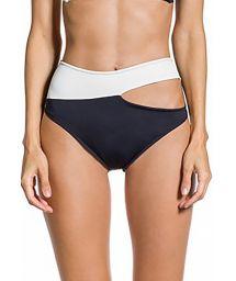 Black and white asymmetrical high-waisted bikini bottom - BOTTOM ALANA PRETO