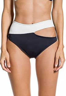 Black and white asymmetrical high-waisted bikini bottom - BOTTOM ALANA PRETO