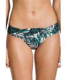 Brazilian bikini bottom with pleated sides and printed foliage - BOTTOM LOLITA FOLHAGENS
