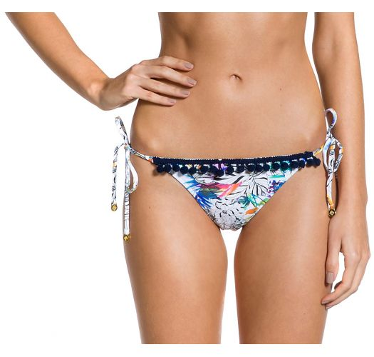 Printed scrunch Brazilian bikini bottom with pompoms - BOTTOM POM-POM GAZENIA