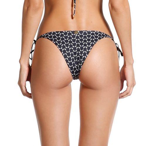 Black geometric Brazilian bikini bottom with pompoms - BOTTOM POM-POM KRUGUER
