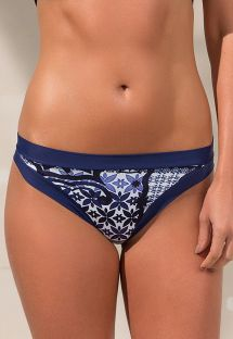 Brazilian bikini bottom navy blue print - BOTTOM RIVIERA BLUE
