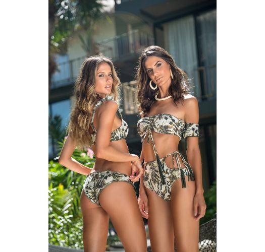 Bikinihose mit gewellten Rändern, Blattmuster - BOTTOM SAFARI SELVA