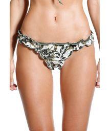 Bikini bottom with wavy edges with khaki leaves print - BOTTOM SAFARI SELVA