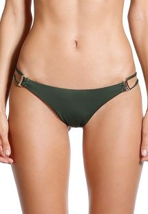 Green khaki Brazilian bikini bottom with golden details - BOTTOM SHELL KAKI