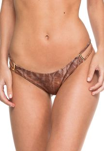 Accessorized brown animal print fixed bikini bottom - BOTTOM TUBE CAMEL