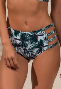 High waisted bikini bottom with a palm tree print - CALCINHA CROPPED COCONUT
