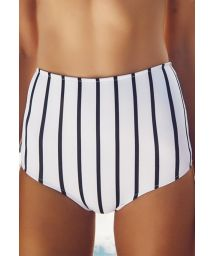 High-waisted striped retro-style swimsuit bottom - CALCINHA HAITI