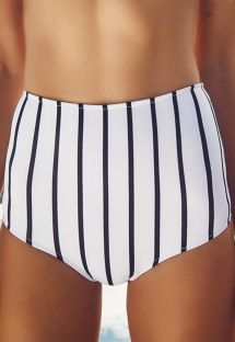 High-waisted striped retro-style swimsuit bottom - CALCINHA HAITI