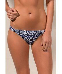 Fixed Brazilian bikini bottom in a navy and white print - CALCINHA JANE RIVIERA BLUE