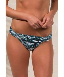 Pleated bikini bottom with a palm tree print - CALCINHA LOLITA COCONUT