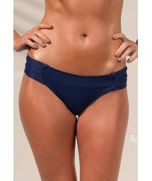 Navy blue pleated wide side thong bikini bottom - CALCINHA LOREN