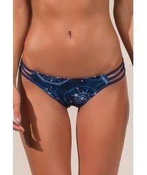 Navy blue printed strappy Brazilian bikini bottom - CALCINHA RIALTO