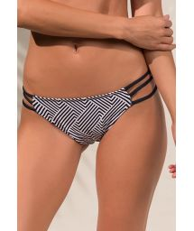 Two-tone geometric strappy bikini bottom - CALCINHA RIALTO ZIGGY