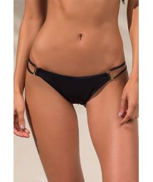 Accessorised black scrunch bottom with double sides - CALCINHA SHELL PRETO