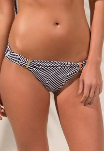 Accessorised two-tone geometric tanga - CALCINHA TULE ZIGGY