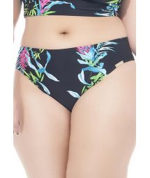 Plus-size black floral bikini bottom - CALCINHA CANTOS E ENCANTOS