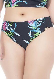 Cueca de biquíni floral preta, tamanhos grandes - CALCINHA CANTOS E ENCANTOS