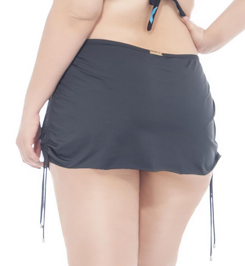Черные с цветочным рисунком плавки с эффектом короткой юбки, размер «плюс-сайз» - CALCINHA LAЗO SAINHA