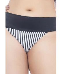 Plus-size black/striped ruched bikini bottoms - CALCINHA LISTRADINHO