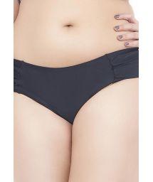Plus-size black ruched bikini bottoms - CALCINHA TAMARINDO