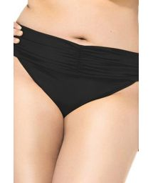 Pleated, black bikini bottom, large sizes - CALCINHA UBATUBA