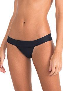 Slip bikini nero lusso fisso - CALCINHA BICOLOR EYELET BLACK-OFF WHITE