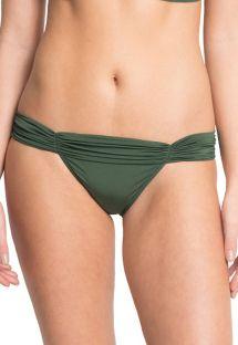 Dark green bikini bottoms with pleated waistband - BOTTOM MANDAGASCAR