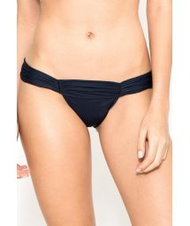 Navy blue gathered Brazilian swimsuit bottom - CALCINHA METAL RUCHED