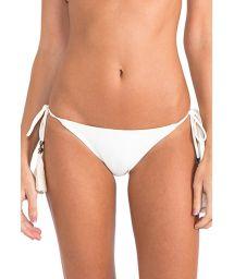 Cream-coloured bikini bottoms with pompoms - CALCINHA STRING HALTER OFF WHITE