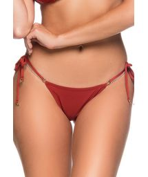 Red side-tie scrunch bikini bottom - BOTTOM  RIPPLE EBANO