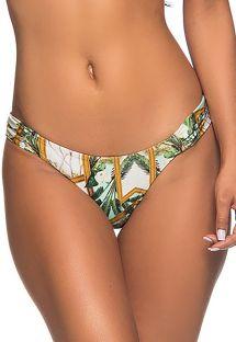 Fixed green print Brazilian bikini bottom - BOTTOM BOLHA PAQUETARIA