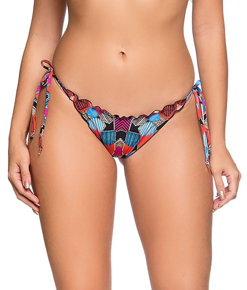 Geometric side-tie scrunch bikini bottom - BOTTOM CORTINAO ART DECO