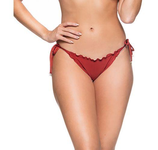 Brazilian side-tie scrunch bikini bottom in solid red - BOTTOM CORTINAO EBANO