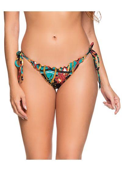 Farbenfrohe Scrunch-Bikinihose, Seitenschnüre - BOTTOM CORTINAO MOSAIC