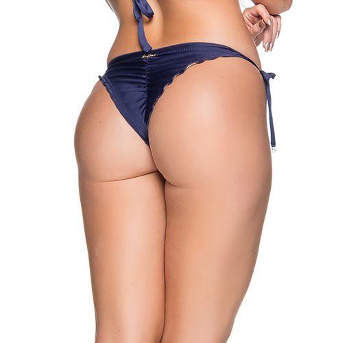 Blaue Scrunch-Bikinihose mit Seitenschnüren - BOTTOM CORTINAO NEW YORK