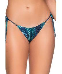 Reptile blue side-tie bikini bottom - BOTTOM CORTININHA DIAMOND