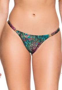 Adjustable thong bikini bottom in peacock print - BOTTOM CROPPED VOLERY