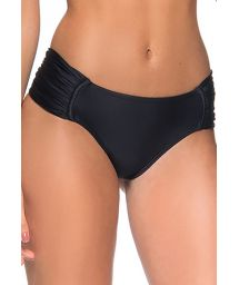 Black tab-side bikini bottom with pleated sides - BOTTOM DRAPE ILHOS PRETO