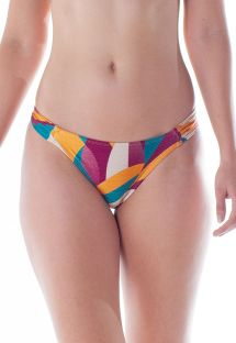 Colorful print Brazilian bikini bottom with pleated sides - BOTTOM DRAPE TURBINADO RAMA